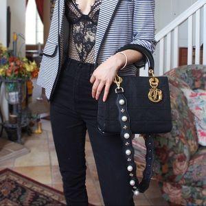 dior • vintage lady dior medium black pearl strap